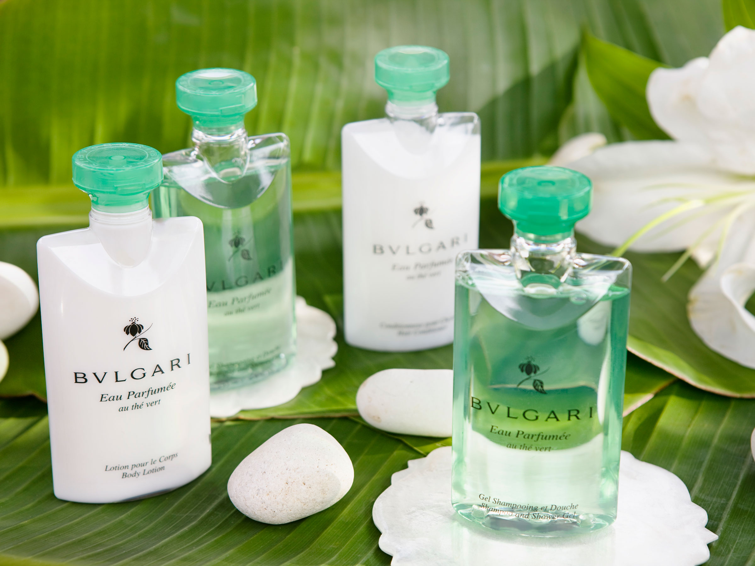Bvlgari Bath Amenities in a Romantic Hotel Room with Jacuzzi